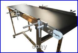 120W Electric 110V Power Conveyor, 15.7Wide PVC Belt, New 2-Guardrails Conveyor