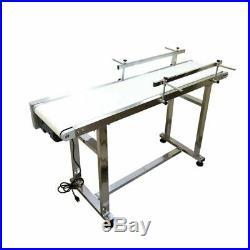 53x12 Electric Belt Conveyor White PVC Belt Industrial Transit Double Guard Bar