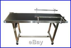 5915.7PVC Belt Conveyor Machine (110V, 120W, Double Guardrails, Stainless Steel)