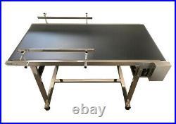 59x 27.5 PVC Belt Conveyor Machine Double Fence Black PVC Belt Stainless Steel