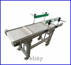 59x11.8 Electric Belt Conveyor Double Guardrail White PVC Horizontal Transport