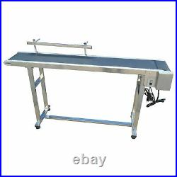 59x7.8 in Electric PVC Conveyor Belt with One Side Guardrail Stainless Steel