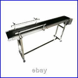 71x 8 Belt Conveyor Black PVC Belt Transfer Packing Machine Doulbe Guardrail