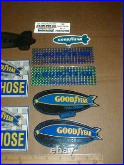 9 Vtg Goodyear Blimp Tire Conveyor Belt #1 rare auto Racing decal Sticker lot