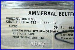 Ammeraal Beltech 39ft Flexam Black PVC Wonder/Hostess Conveyor Belt SS Staple La