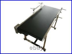 Floor Type Belt Conveyor Two Guardrails Black PVC Belt Speed Control 50 x 19