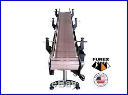 Furex Stainless Steel 8' x 12 Wide Inline Conveyor with Plastic Table Top Belt