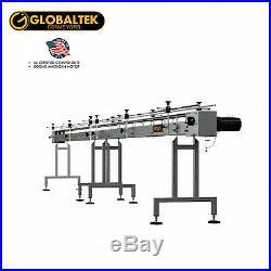 Globaltek 20'x4.5 S/S Sanitary Raised Bed Conveyor with Table Top Plastic Belt