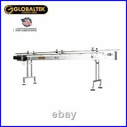 Globaltek 8'x4.5 S/S Sanitary Raised Bed Conveyor with Table Top Plastic Belt