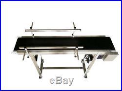 Heavy Duty PVC&Steel Belt Conveyor Powered Machine with Guardrail Set 47.2x7.8