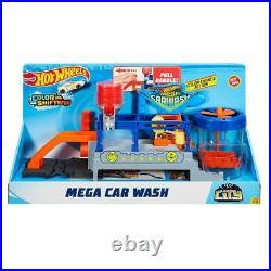 Hot Wheels Color Change Mega Car Wash and Cars and Conveyer Belt Track Playset