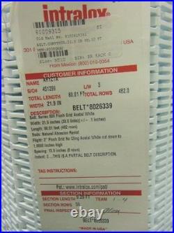 Intralox Plastic Conveyor Belt, Series 800, Flush Grid, 21.9x9.29' With Flights