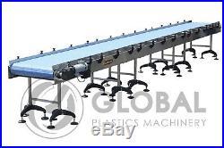 NEW! Globaltek Stainless Steel Conveyor 25' x 32 with Plastic Interlocking Belt