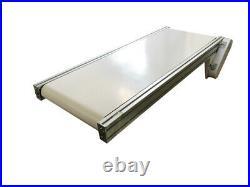 TECHTONGDA 110V 47.2X15.7 White PVC Belt Electric Conveyor Mesa