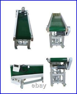 TECHTONGDA 110V 5911.8 Green PVC Inclined Wall Belt Conveyor Adjustable Heig