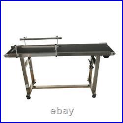 TECHTONGDA 110V PVC Black Belt Conveyor with Double Guardrail 59''x 11.8'