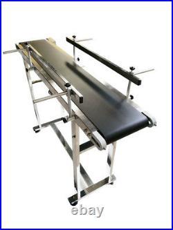 TECHTONGDA 47.2×7.8 (120cm×20cm) Double Guardrail Black PVC Belt Conveyor New
