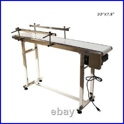 TECHTONGDA 53''x7.8 PVC Belt Conveyor with Double Guardrail Stainless Steel