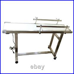 TECHTONGDA PVC White Belt Conveyor with Double Guardrail 53''x 11.8'' 110V