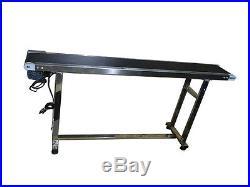 Top-grade 59 x 7.8 110V Conveyor Belt With Black PVC Belt 304 Stainless Steel